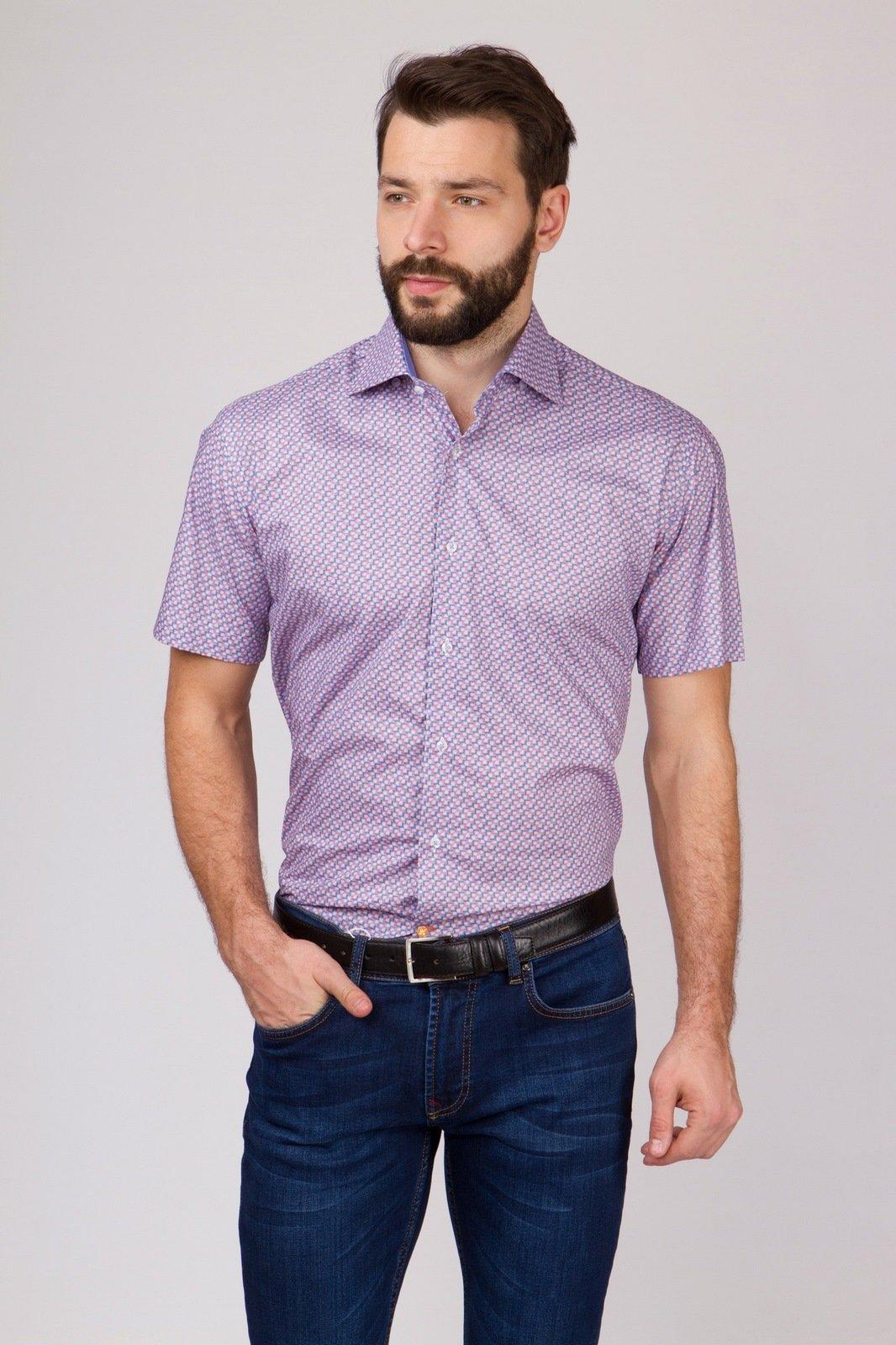 Рубашка приталенная из хлопка с коротким рукавом KANZLER