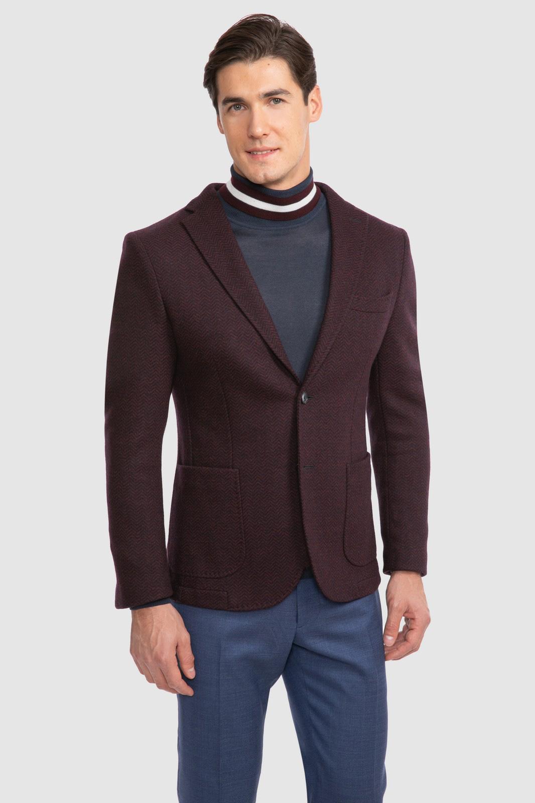 Пиджак полуприталенный из шерсти KANZLER