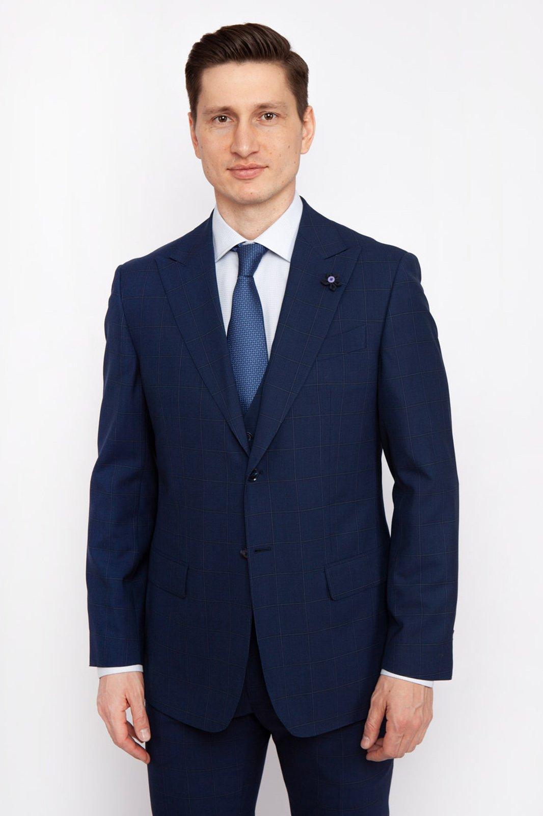 Костюмный полуприталенный пиджак из шерсти KANZLER