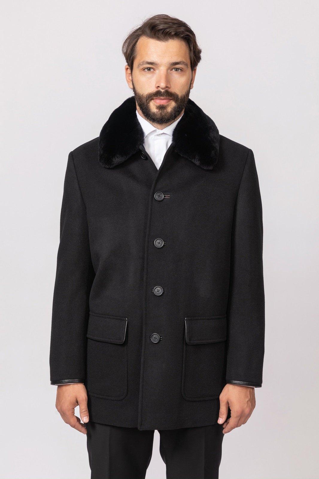 Пальто из шерсти с натуральным мехом KANZLER