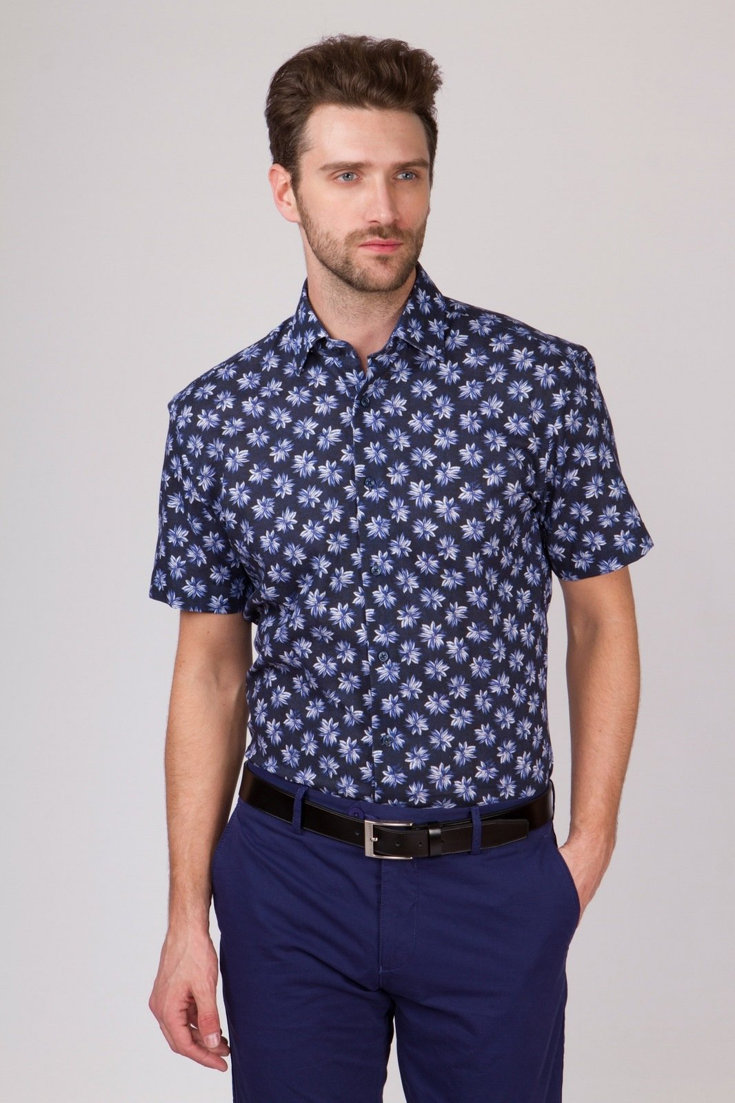 Kanzler Прямая рубашка из хлопка и льна KANZLER