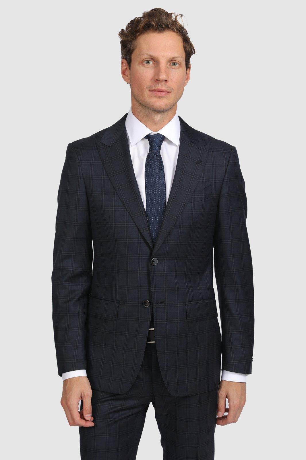 Костюмный пиджак полуприталенный из шерсти KANZLER