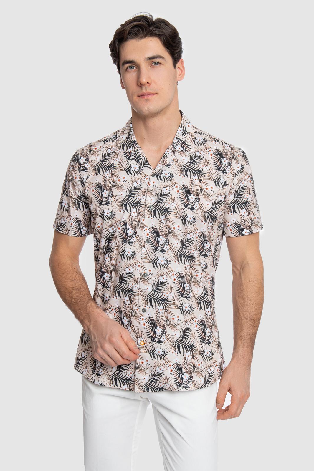 Kanzler Рубашка приталенная из хлопка с коротким рукавом KANZLER