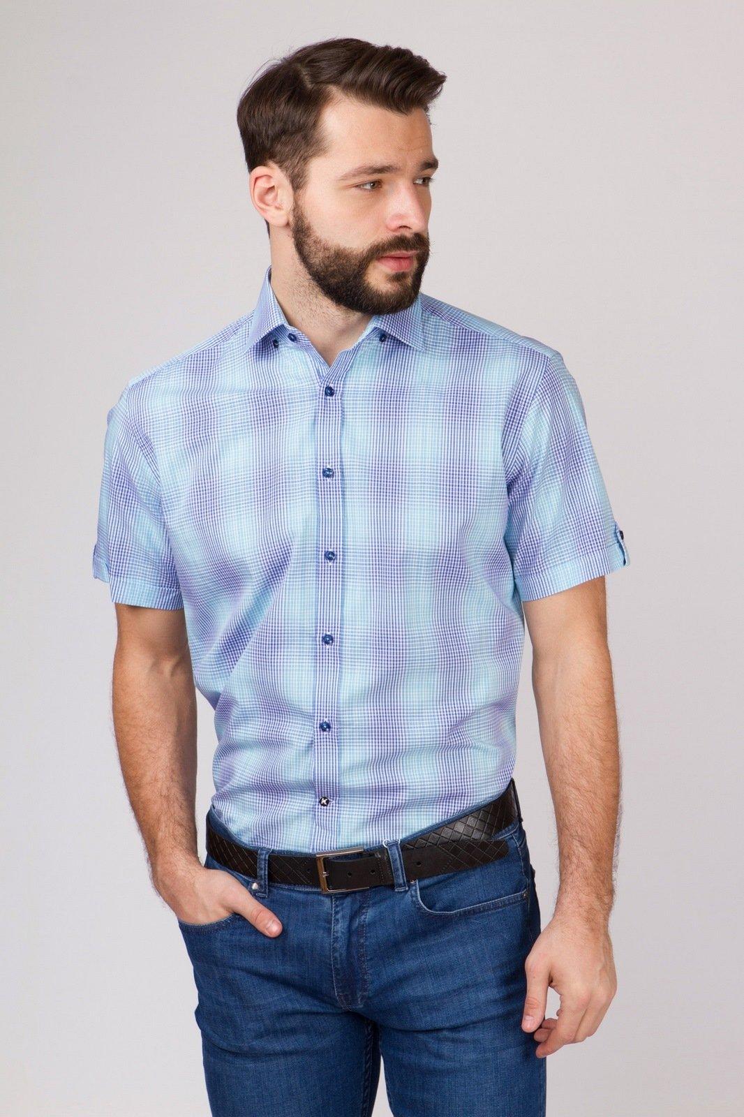 Рубашка прямая из хлопка с коротким рукавом KANZLER